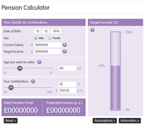 Online pension calculator