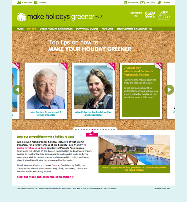 Make Holidays Greener top tips 'postcards'